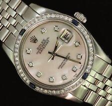 Rolex Mens Datejust Steel Oyster Diamond Sapphire Bezel Dial Pearl Watch