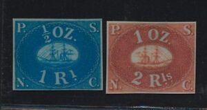 ***REPLICA*** of Peru 1857 PSNC 1r Blue + 2r Red, Sc 1,2