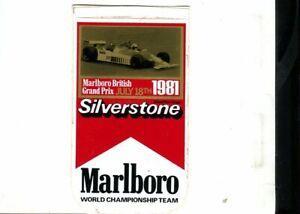 British GP 1981 Marlboro original sticker autocollant adhesivo Aufkleber unused