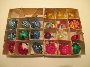 Vintage Christmas Ornaments Lot of 21 Pinecone Fruits Mercury Indents Mica