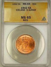 1942 Iceland 5A Five Aurar Copper Coin ANACS MS-65 Red GEM BU (i)