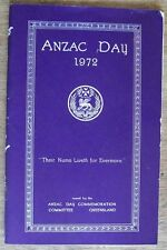Anzac Day 1972, Published by Anzac Day Committee Queensland, AIF, Softcover
