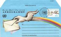 UNITED NATIONS 1992 45c AIRLETTER PEACE DOVE & ENVELOPE FDI NEW YORK SHS