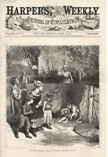 The Little Vagrant - Young Boy Sleeping in Yard -  Original Antique Print - 1874