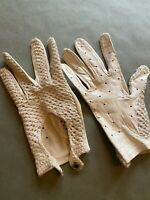 Vintage 50s 60s Crochet Leather Xxs Driving Fitted Gloves