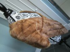 VTG Pastel Real Genuine MINK FUR Lined Collar Stole Scarf Jacket Coat CANADA