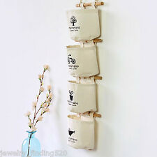 Wall Door Closet Hanging Storage Bag 4Pockets Linen/Cotton Home Organizer