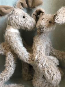 """Schulte Mohair Artist Bunnies, Hopp 12"""" & Hopper 14"""" by Elke Block Originals"""