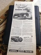 N1-7 Ephemera Folded Advert 1938 Lionel Electric Chugger Trains