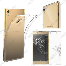 Housse Etui Coque Silicone + Film Verre Trempé Transparent Sony Xperia XA1 Ultra