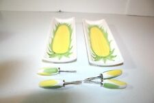 Lillian Vernon Ceramic Corn on Cob Trays and Holders 1980s BRAND NEW 2 Sets