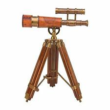 Nautical Brass & Leather Marine Double Barrel Telescope with Wooden Tripod Gift