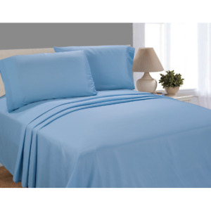 MAINSTAYS 3 Pc Twin Size Sheet Set Blue Solid Microfiber FAST SAME DAY SHIPPING!