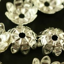 Wholesale 100pcs Silver Plated Flower Bead Caps Jewerly Findings 11mm