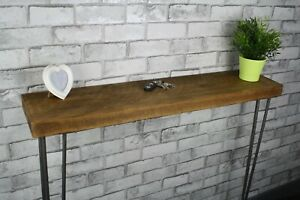 OHandmade Rustic Redwood Timber Console Table Steel Hairpin Legs Industrial Styl