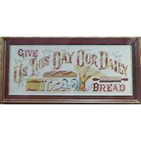 GIVE US THIS DAY Vintage Stamped Cross Stitch Kit Belgian Linen Mid Century