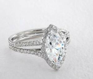 1.50CT Marquise Cut Moissanite Halo With Split Shank Promise Ring 14k White Gold
