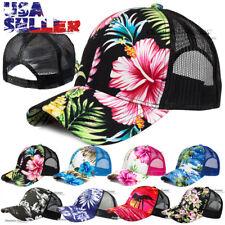 Hawaiian Tropical Floral Trucker Hat Baseball Mesh Cap Snapback Adjustable Men