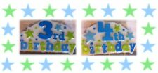 3rd & 4th Birthday Candle  - Boy - with Hand Painted Stars