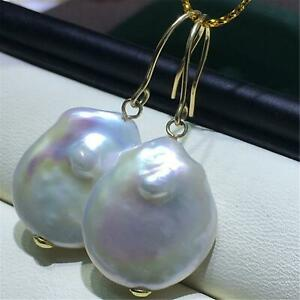 14-16MM Natural white Baroque Pearl Earring silver Stud earrings girl a gift
