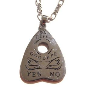 SILVER OUIJA BOARD PLANCHETTE NECKLACE gothic occult spirit ghost pendant O2