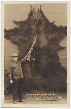 1919 REAL PHOTO Portrait Hunting in Alaska - Enormous Bear Skin With Armed Man