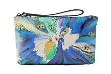 Sharif Genuine Leather Hand Painted Peacock Wristlet Clutch Cosmetic Bag Pouch