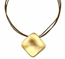 Gold 24k Plated Slide Rhombus Pendant on 3 Dark Brown Ropes Leather Necklace