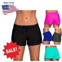 Women's Full Coverage Swim Shorts Solid Color Drawstring Swimwear Stretchy S-3XL