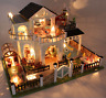 DIY Wooden Doll House Villa Miniatures LED Furniture Kit Light With Balcony