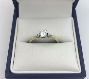 Lovely 9ct Gold, White Gem And Diamond Ring.  Size N1/2