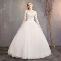 Lace-Up Back 3/4 Sleeve O-Neck Ivory Lace Flower Floor length Wedding Dress