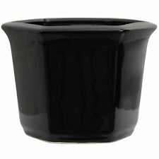 """Oriental Furniture 10"""" Solid Black Porcelain Flower Pot"""