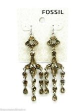 Fossil Drop Earrings Topaz Brown Crystals Holiday Drama New! NWT