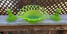 Large Vintage Westmoreland Green Glass Bowl Doric Lace + Two Candle Holders Rare
