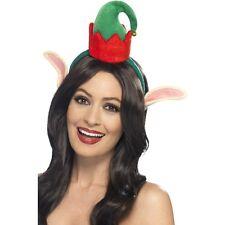 Ladies Womens Mini Elf Hat & Ears  Sant'a Xmas Dinner Christmas Fancy Dress Fun