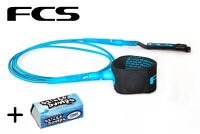 FCS 6' Blue Freedom Surfboard Leash + Wax