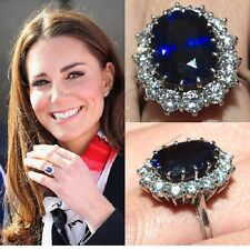 Blue Sapphire Kate's Middleton Style Engagement Wedding Ring In White Gold Over