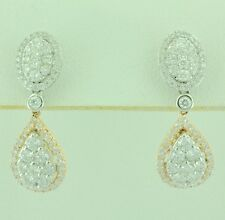 14k Solid White  Rose gold Natural Diamond dangling earring 1.40 ct cluster pear