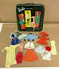 Vintage 1960's  Early Barbie Black 1961 Ponytail Case With Original Clothes Ken