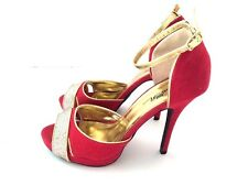 Wild Rose Special Occasion Prom Party Sparkle Ankle Strap Stilettos Heels Size 9