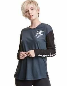 Champion Long-Sleeve Tee T-Shirt Women Blur C Gameday Logo Athletics Lightweight
