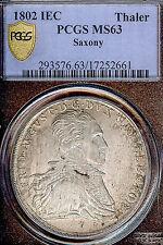 German States Saxony 1802 IEC Mining Taler Coin PCGS MS63 F.STG Thaler D 851