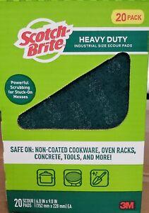 """3M SCOTCH BRITE HEAVY DUTY 6"""" X 9"""" SCOURING PADS BIG 20 PACK BOX"""