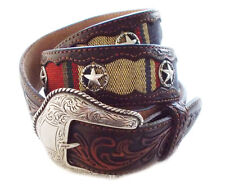 "Brighton Western ""Tony Lama"" Cloth & Brown Tooled Leather Belt - NWT- Size 36"