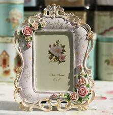 Retro Vintage Rose Flower Pink Home Decor Photo Frame Picture Resin 4''*6''