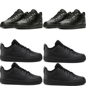 Nike Boys Trainers Kids Sports School Casual Shoes Court Boro Sneakers All Black