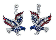 Independence Day Jewelry USA American Flag Design Eagle Post Earrings e81