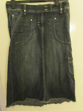 Next Blue Stretch Denim Skirt with Front Pockets & Frayed Hem in Size 10