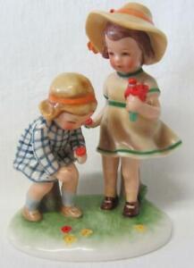 ~EX RARE~ Goebel Kathe Kruse KRU 9 Girls Picking Flowers Figure Group c1955